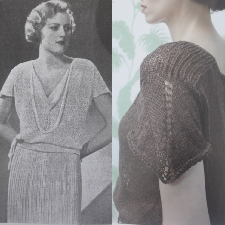 a 'splitscreen picture' showing on the left: a full picture of the top from the original 1930s pattern modelled by a tall slim white woman with a blond waved bob hairstyle and on the right a side details of the reworked version from A Stitch in Time modelled by a slim white woman with a swanlike neck cropped just above the mouth and extending doen to the elbow.