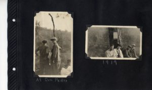Photo album page of two photos of a small group of people at Don Pedro in 1919.
