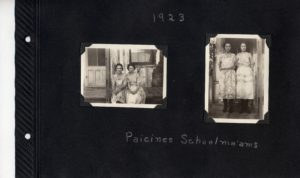 Photo album page, two photos of a pair of teachers at the Paicines School in 1923.