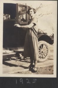 Aunt Irene in 1925 in front of automobile