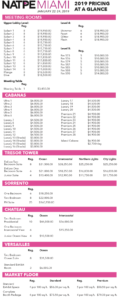 2019 Pricing At-A-Glance