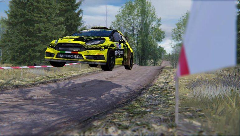Esempio salto della Ford Fiesta WRC 2015 su Forest Rally per Assetto Corsa