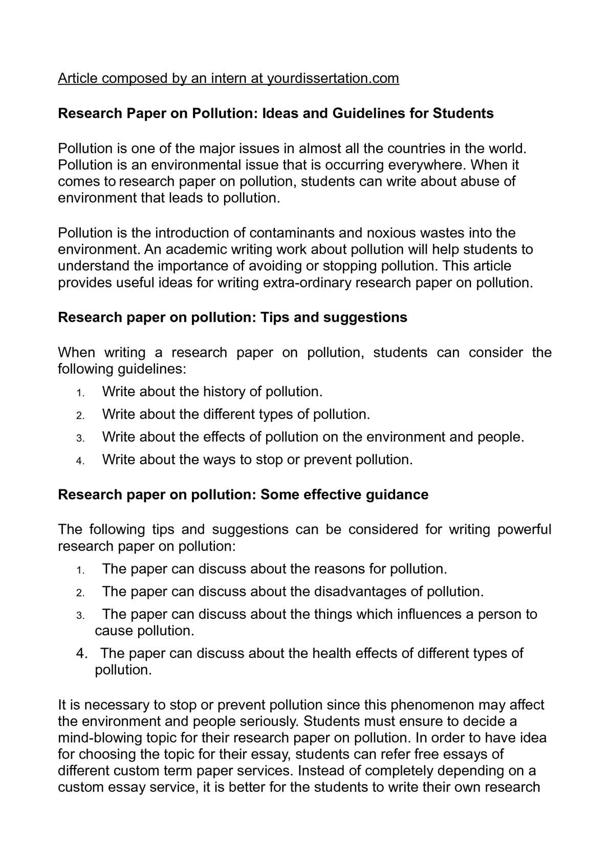 Pollution research paper outline religious ritual essays