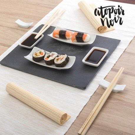 set de sushi mazali ko service de sushi avec assiette en ardoise