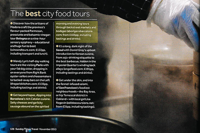 Aborígens featured on Sunday Times Magazine as one of the best food ours in the world