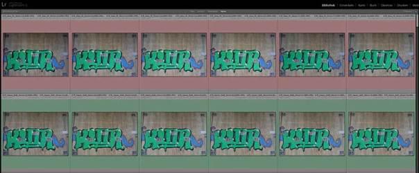 Farbmarkierungen der Testbilder im Lightroom-Fenster