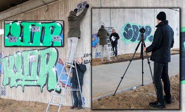 Das Dokumentationsbild zeigt, wie wir für einen Test mit einer Leiter die Testkarten an eine große Wand angebracht haben.
