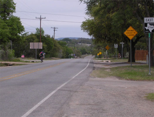 A lone rider approaches the rest stop in Johnson City.