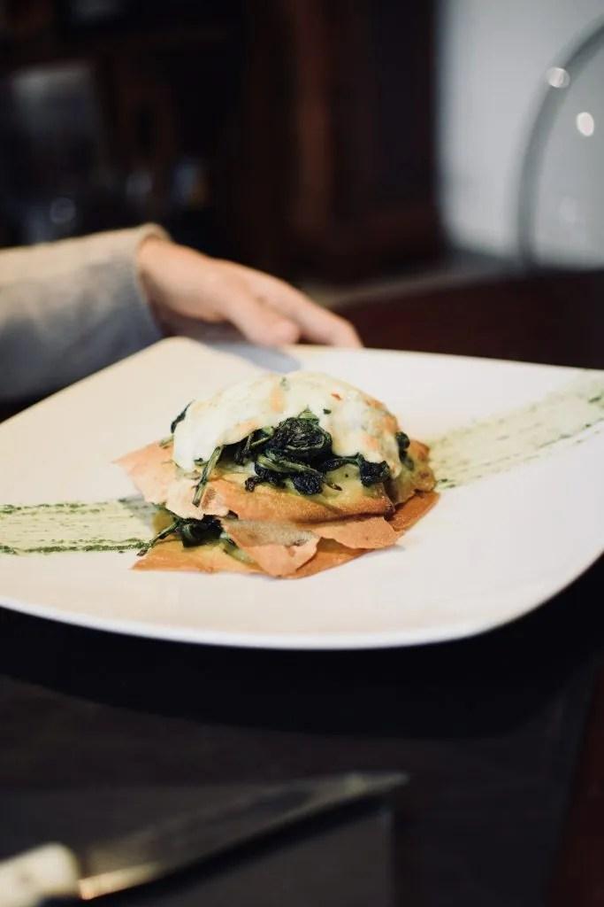 millefoglie di spinaci e mozzarella all'Oste della Bonora a Roma