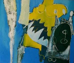 schilderij, spannende kuiten, mooie, benen, 715, olieverf, robert, linnen, blauw, geel, mond, been, tanden, sexy, cool, abstract, figuratief, pennekamp