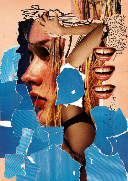 Collage, nr 2, glitter, glamour, catwalks, Robert Pennekamp, A4 formaat, 20 * 30 cm, 2005. Gemengde technieken op papier, met babe, model, tekst, lippestift, oog