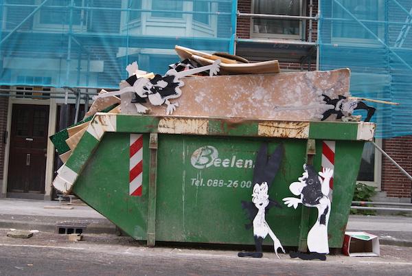 grof afval amsterdam, strip, cartoon, grof afval, container, sloop, vuilnis, bouwafval, puin afval, groen afval, stenen, hout, bouw, robert, pennekamp