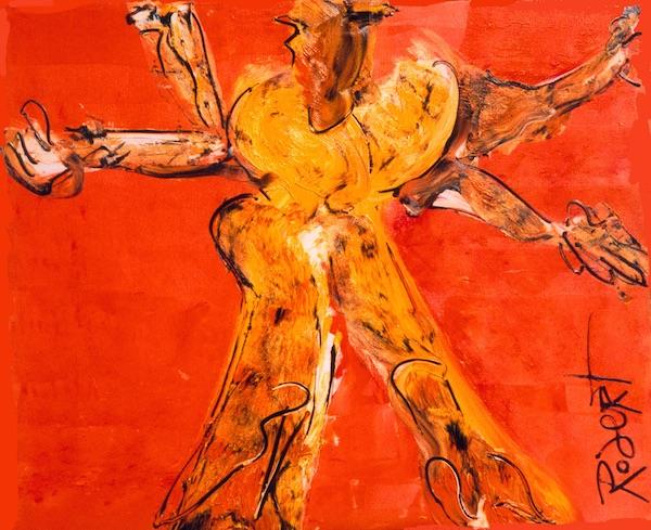 nummer zoveel, nummer, nummertje, zoveel, india, oranje, goeroe, robert, pennekamp, mooi , schilderij, geel, boeddha, boeddhistisch, dynamisch, expressief, 185