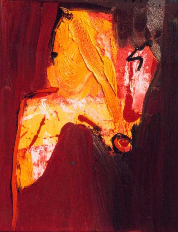 285, op een stokje, vogel, aarde, kleuren, rood, oranje, roze, geel, oker, abstract, figuratief, schilderij, robert, pennekamp, robert pennekamp, bruin