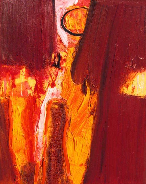 korte bomen vangen, niks, kleuren, rood, oranje, roze, geel, abstract, figuratief, schilderij, robert, pennekamp, robert pennekamp, lekker, heerlijk, aarde