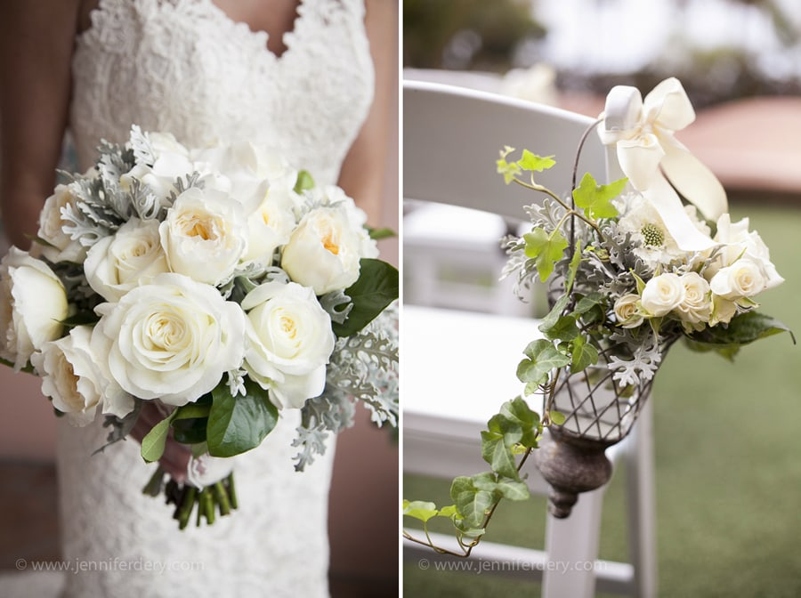 white wedding flowers at la valencia