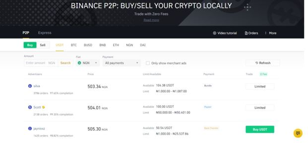 P2P transaction page on Binance