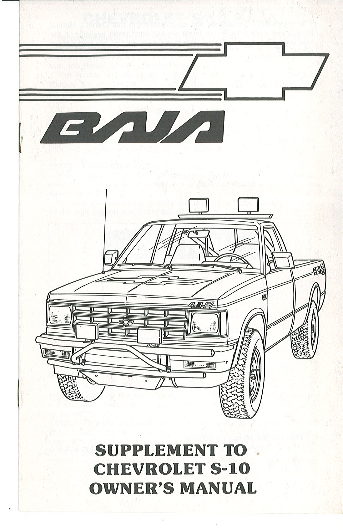 » 1989 Owners Manual Supplement Cover Page 1