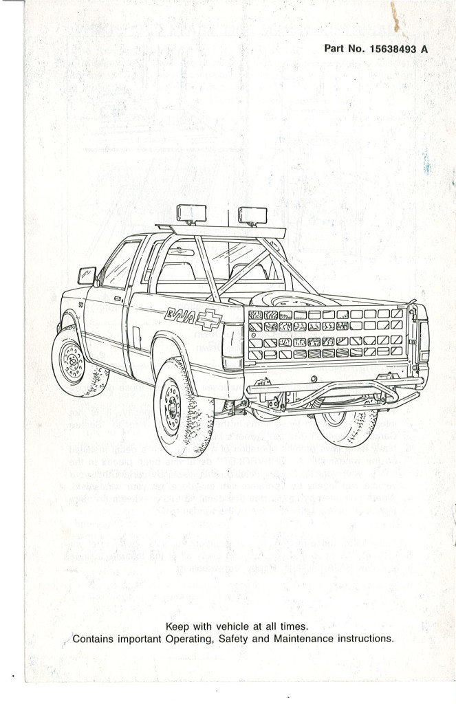» 1989 Owners Manual Supplement Cover Page 2