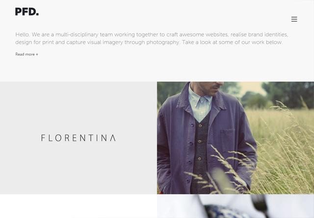 Screenshot of a clean website: PFD