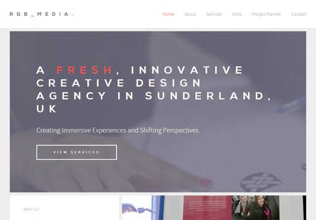 Screenshot of a clean website: RGB MEDIA
