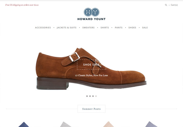 Screenshot of a clean website: Howard Yount