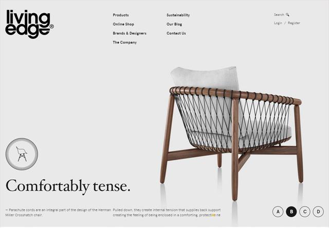 Screenshot of a clean website: Living Edge