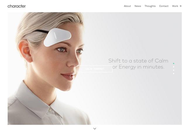 Screenshot of a clean website: Character