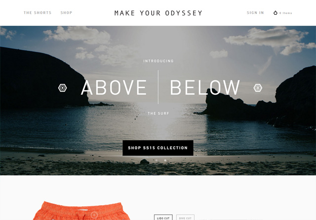 Screenshot of a clean website: Make Your Odyssey