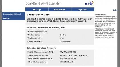 BT 11ac Dual-Band Wi-Fi Extender 1200 GUI