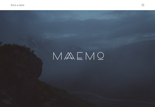Image of a restaurant website: Maaemo Restaurant