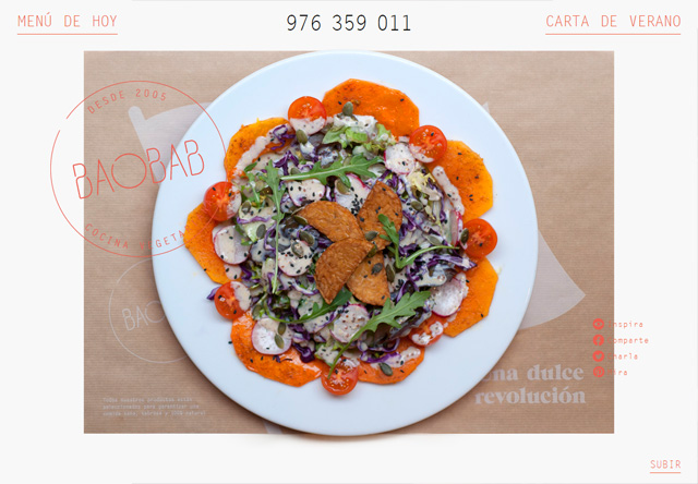 Image of a restaurant website: Baobab