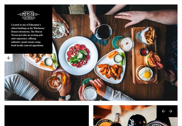 Image of a restaurant website: Mercer Tavern