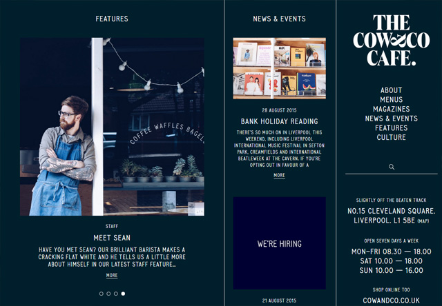 Image of a restaurant website: Cow&Co Cafe