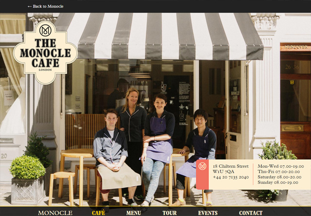 Image of a restaurant website: The Monocle Café