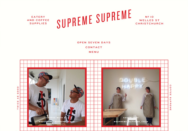 Image of a restaurant website: Supreme Supreme