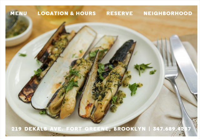 Image of a restaurant website: Colonia Verde