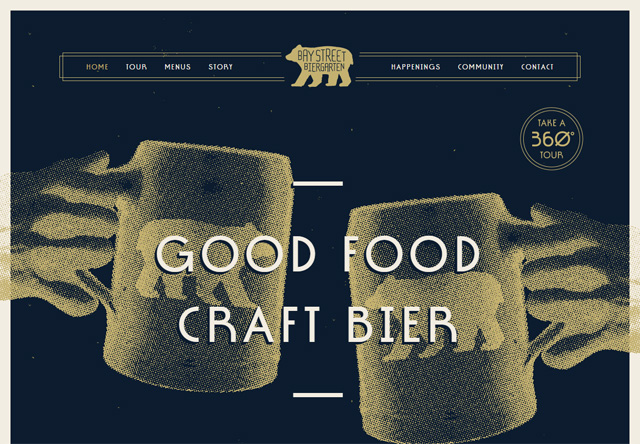 Image of a restaurant website: Bay Street Biergarten