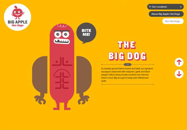 Image of a restaurant website: Big Apple Hot Dogs