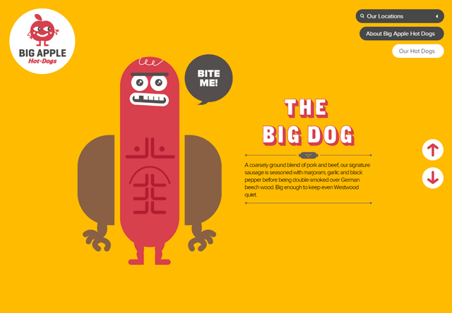 Image of a restaurant website: Big Apple Hot Dogs