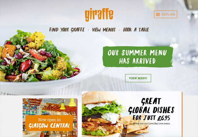 Image of a restaurant website: giraffe