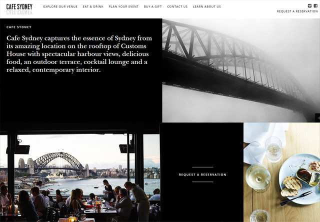 Image of a restaurant website: Cafe Sydney