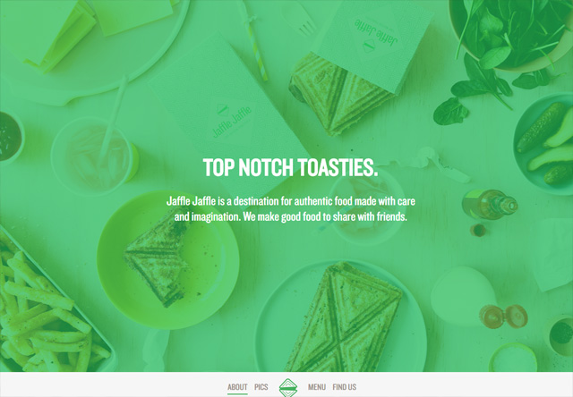 Image of a restaurant website: Jaffle Jaffle