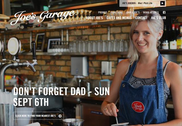 Image of a restaurant website: Joe's Garage