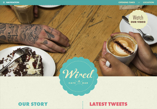 Image of a restaurant website: Wired