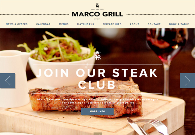 Image of a restaurant website: Marco Grill