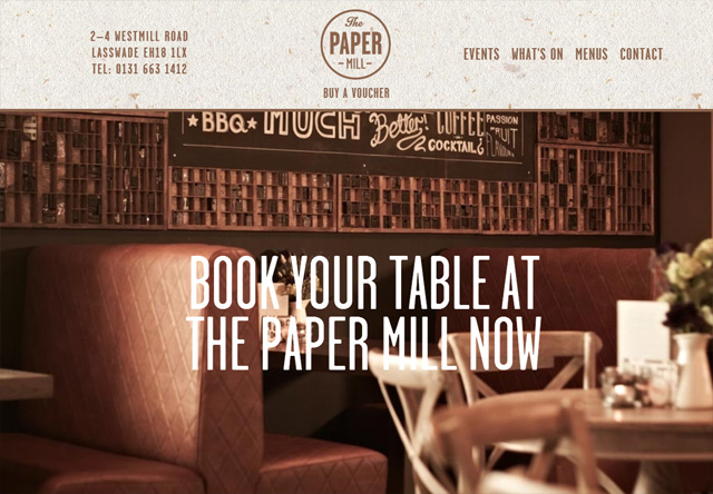 Image of a restaurant website: The Paper Mill