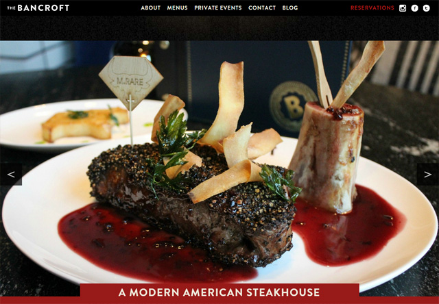 Image of a restaurant website: The Bancroft