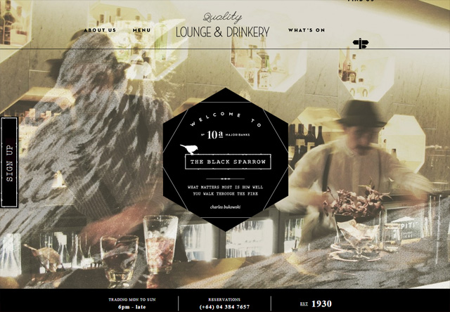 Image of a restaurant website: The Black Sparrow