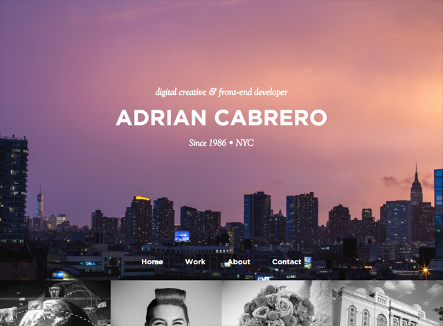 One-page website: Adrian Cabrero